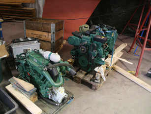 Volvo engines waiting to be installed
