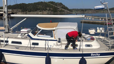Adams Boat Care's aluminum hardtop developed especially for the Hallberg Rassy 43, with extra sp