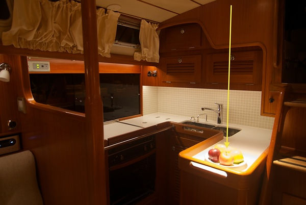 Key area in a Hallberg Rasy boat