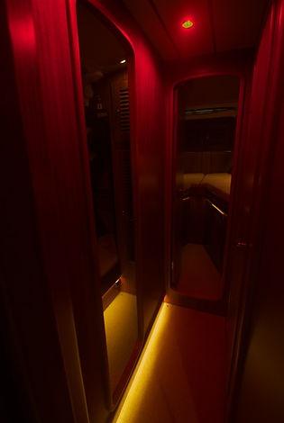 Dimmed flooring lights in a Hallberg Rassy boat