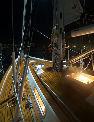 Functional lighting on a Hallberg Rassy boat