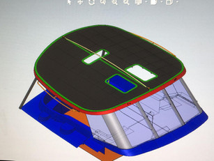 A hardtop in aluminum for a Discovery 55. Two solar panels on top, over 3 sqm each. Preview