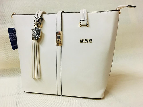 Desc-Classy All White Leather TWID Purse