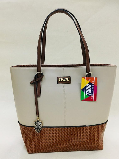 White & Brown Genuine Leather TWID Bag/Purse