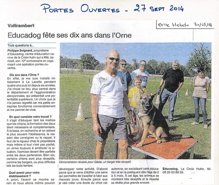 Article de press, orne hebdo educadog fête ses 10 ans