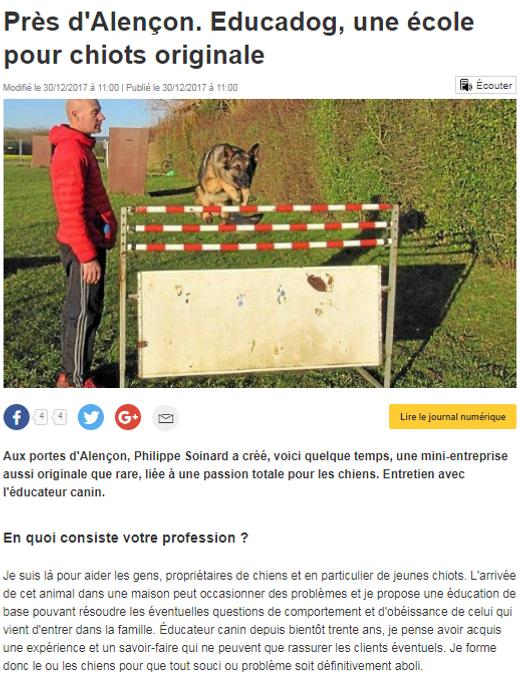 Article de press ouest france educadog