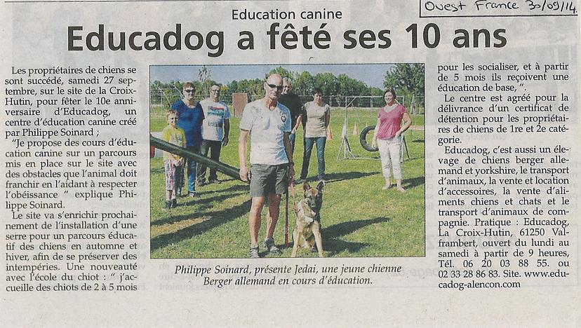 Article de press, ouest france educadog fête ses 10 ans