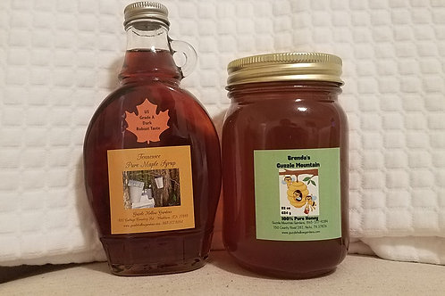 Home Delivery Only. One Pure Maple Syrup and one pint of Berry Blossom Honey