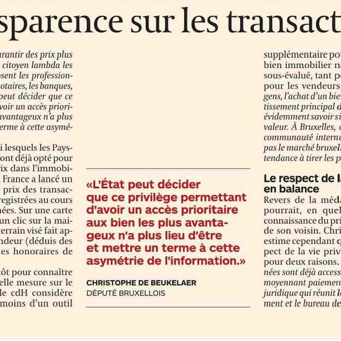 Transactions immobilières : plus de transparence !