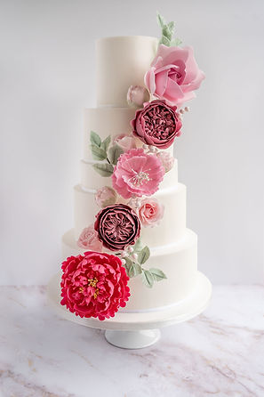 5 tier Wedding cake with pink sugar flowers