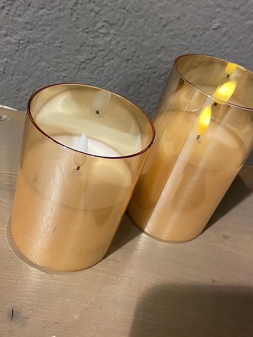 Led Glas Kerzen 🕯 gold inkl. Fernbedienung