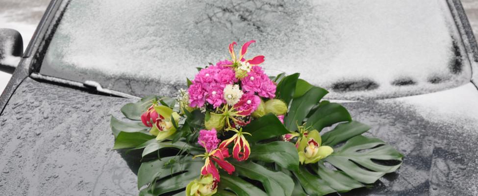 Autogesteck pink Hochzeit
