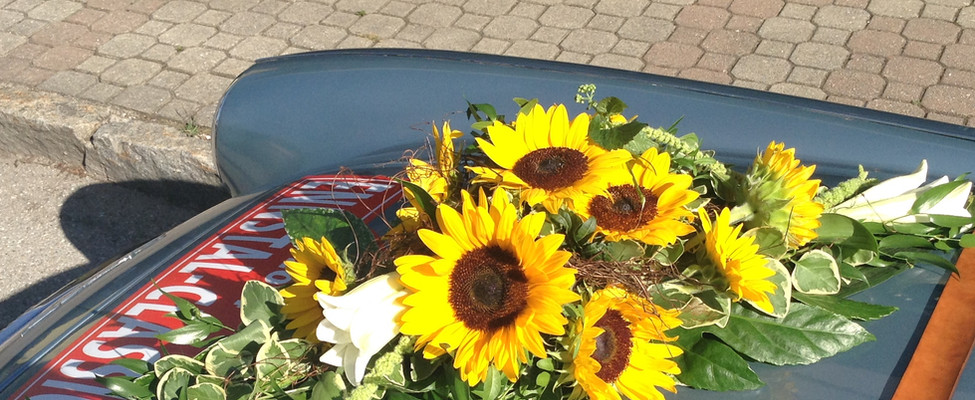 Autogesteck Sonnenblume Hochzeit