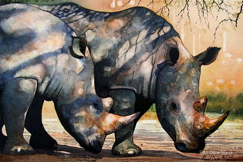 'Rhinos in Dappled Shade' by Paul Dene Marlor