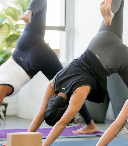 Women practice yoga