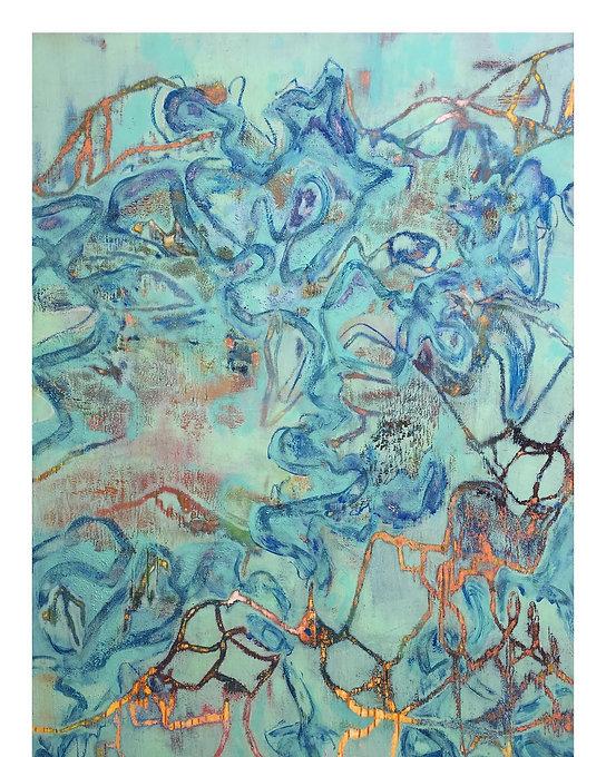 INTERLACE Peinture Huile et pigment 195x130 cm / 77x51 inch Eloi DEROME