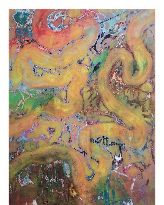 INTERLACE Huile et pigment 195x130 cm / 77x51 inch Eloi DEROME