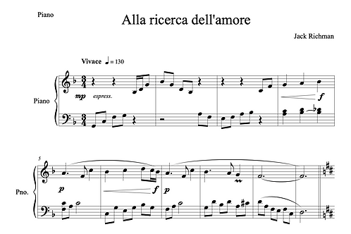"""Alla ricerca dell'amore"" - Digital Sheet Music"