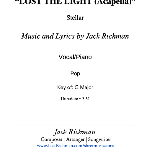 """Lost the Light (Acapella)"" - Digital Sheet Music"