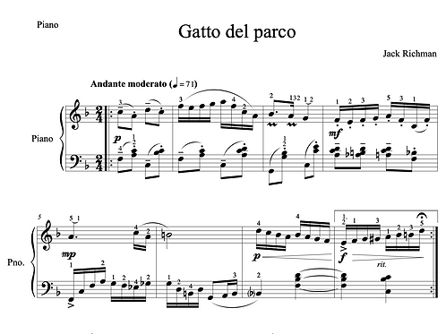 """Gatto del parco"" - Digital Sheet Music"