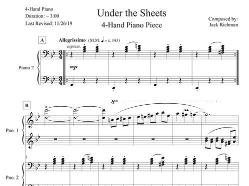 """Under the Sheets"" - 4-Hand Piano Piece - Digital Sheet Music"