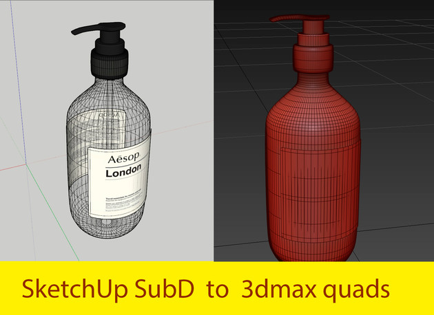 Sketchup SubD  to 3dmax quads