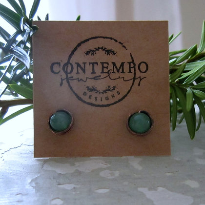 Contempo Aventurine + Oxidized Brass Stud Earrings