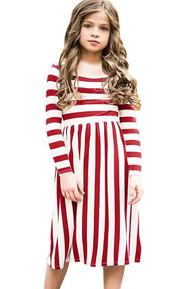 Red and White Striped Dress