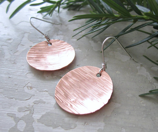 Contempo Textured & Domed Raw Copper Disc Earrings