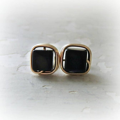 Contempo Black Onyx Cube + Gold Stud Earrings