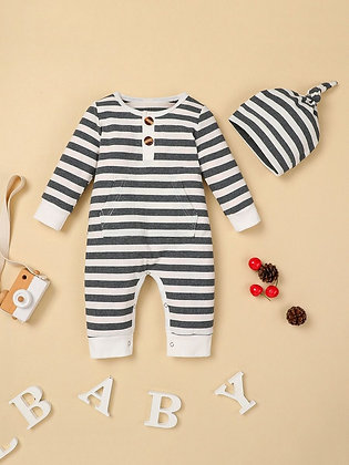 Gray & White Striped Jumper Set