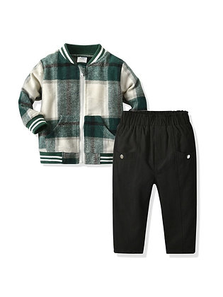 Boys Plaid Jacket & Pants Set
