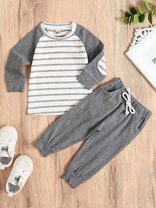 Gray Striped Sweat Shirt Set