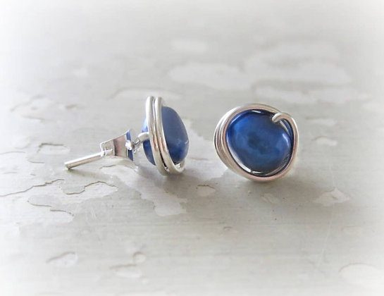Contempo Royal Blue Pearl + Sterling Studs