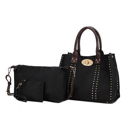 MKF Elissa 3 Pc Set Satchel Handbag - Black Coffee