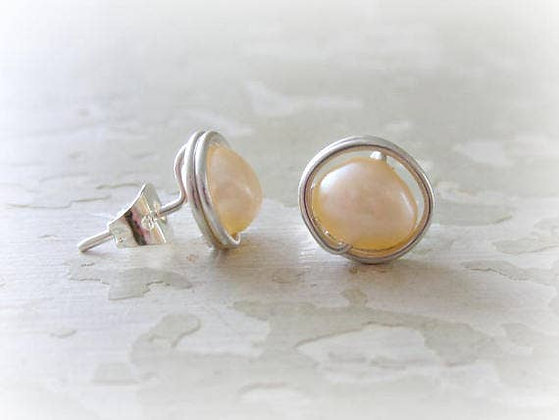 Contempo Little Peach Pink Sterling Studs