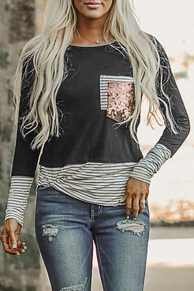 Gray Striped Sequin Pocket Top