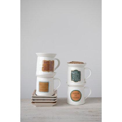 Stoneware Mug With Snack Plate