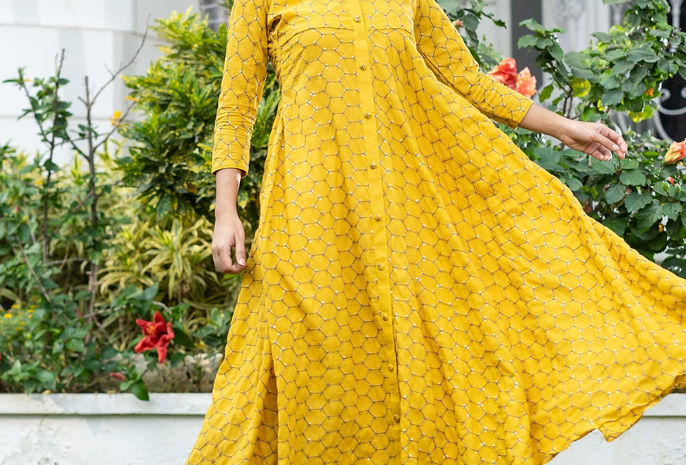 Yellow Embroidered Collar Dress
