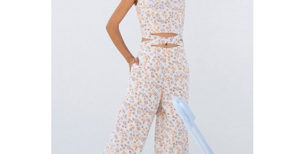 White Hand Block Printed Cotton Crop Top with Pants