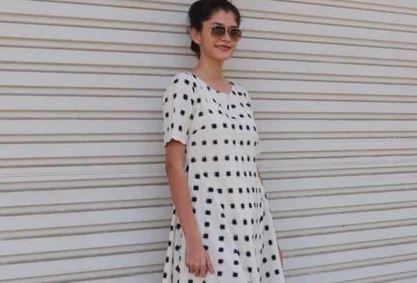 White Ikkat Flared Dress