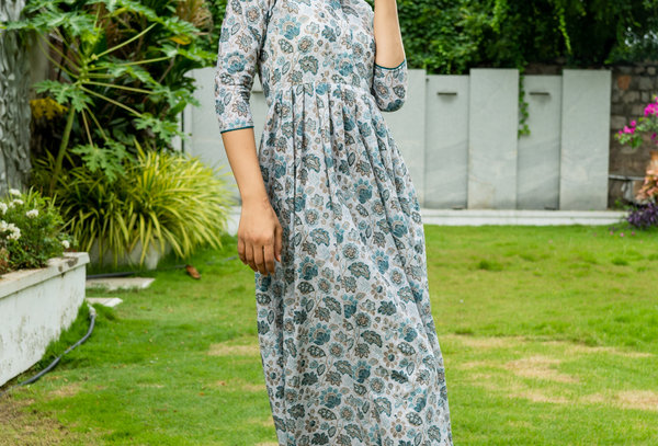 Off White Cotton Printed Schiffli Dress