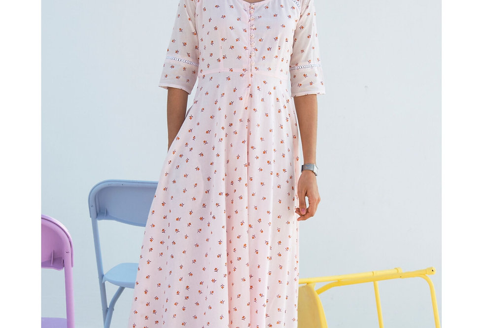 Light Pink Cotton Fit And Flare Maxi Dress