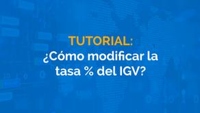 ¿Cómo modificar la tasa % de IGV en SAP B1?