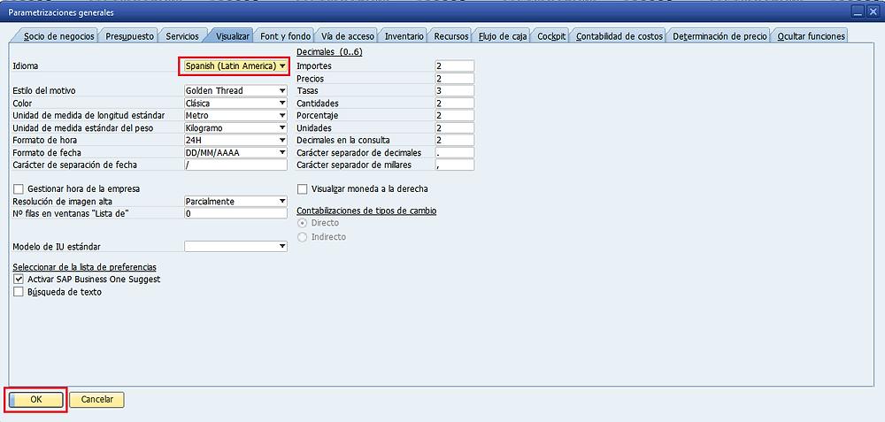 Cambiar idioma en SAP B1