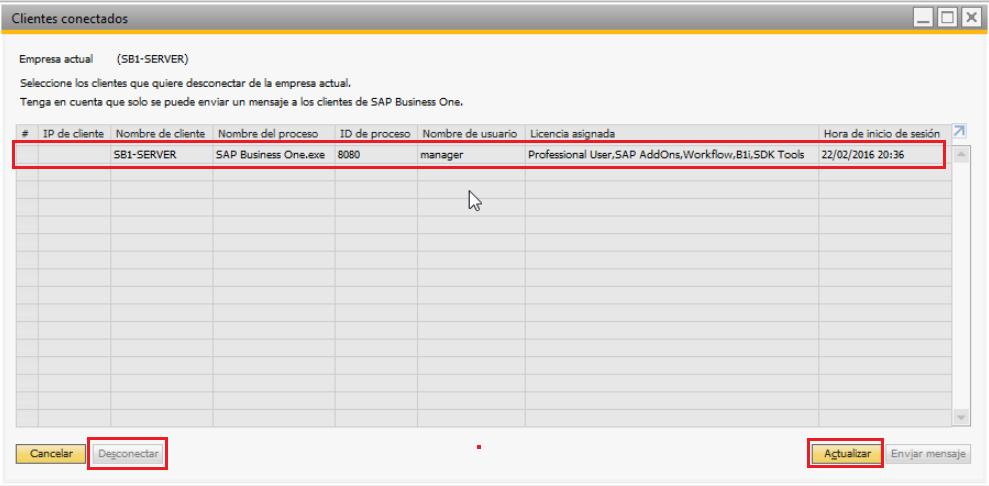 Usuarios conectados al servidor SAP