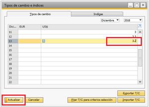 Ventana de Tipo de Cambio e índices en SAP