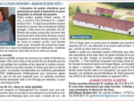 """Article dans """"La Grenouille"""" de               Cour-cheverny / Cheverny"""