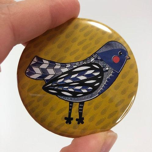Pocket mirror - Blue bird on yellow 4