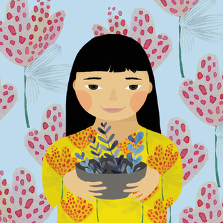 Girl holding bowl by Elaheh Bos